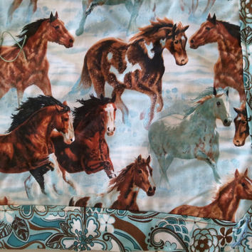 Running Horses Baby Quilt by mersatessims on Etsy