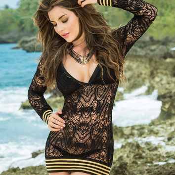 Golden Striped Beach Dress