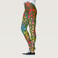 Meadow Polka Dots Floral Pattern Leggings