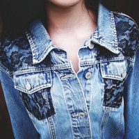 Black Lace Denim Jacket by PeaceLoveStuds on Etsy