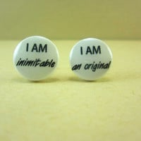 I Am Inimitable I Am Original Earrings, Alexander Hamilton Earrings, Alexander Hamilton Musical, Alexander Hamilton Jewelry