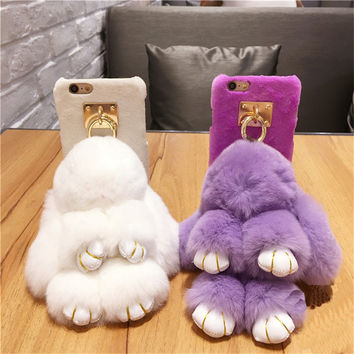 Luxury Metal Tassel 3D Bunny Phone Furry Back Cover For iPhone 7 7Plus 6 6s Plus 6sPlus 5 5s SE Soft Warm Rabbit Fur Hair Cases