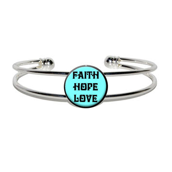 Faith Hope Love Black On Blue Silver Plated Metal Cuff Bracelet