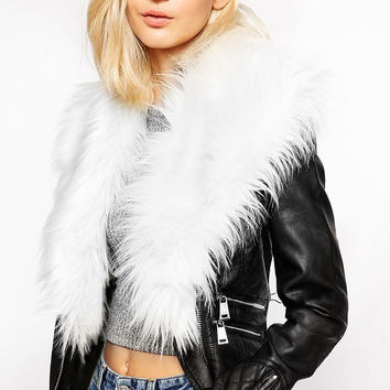 White Fluffy-neck Zippers Biker Jacket