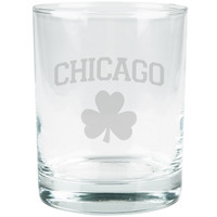 St. Patricks Day - Chicago Shamrock Etched Glass Tumbler