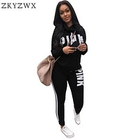 ZKYZWX Pink print 2 piece set women pant and top 2018 autumn plus size casual outfit sweat suits two piece sweatshirt tracksuit