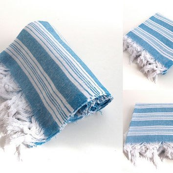 beach towel , Turkish bath towel , turkish buldan fabric towel, blue and white striped ,pareo