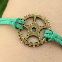bracelet--Time Gear bracelet,antique bronze charm bracelet,green cord,friendship bracelet,MORE COLORS