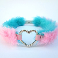 Double Sided Pastel Goth Heart Choker, Get 4 Styles in 1, Lolita Collar DDLG Pink Furry Choker Fairy Kei Cosplay Gyaru Faux Fur, PU Leather