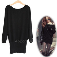 Women Solid Long Batwing Sleeves Knitting Bag-hip Dress Mini Skirt Sweater Tops AP = 1946304772