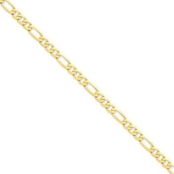 14K Yellow Gold 7.00mm Flat Figaro Chain Necklace - Fine Jewelry Gift