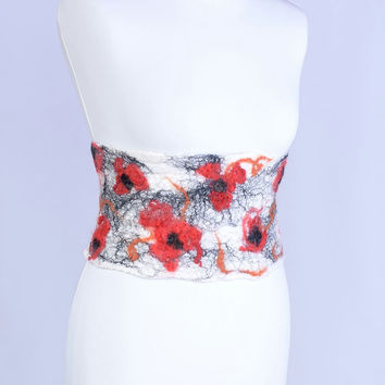 Felted obi belt with flower pattern, white wool wide belt [P1]