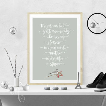 Typography wall art, Jane Austen inspirational quote, typography poster giclée print