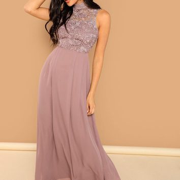 Guipure Lace Top Maxi Prom Dress