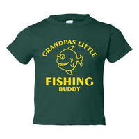 Grandpas Little Fishing Buddy Great T Shirt Personalize it Infant & Toddler And Youth Sized Grandpas Fishing Buddy T Shirt