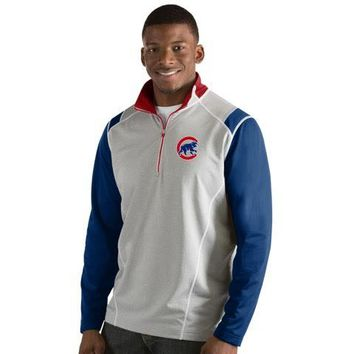 Men's Chicago Cubs Antigua Gray Automatic Walking Bear Logo 1/4 Zip Track Jacket