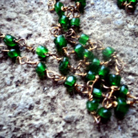 Vintage 60s Necklace Handcrafted Copper Wired Glass Green Beads Hippie Layering 19 inches Long