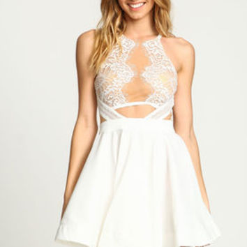 Ivory Mirrored Lace Flare Dress - LoveCulture