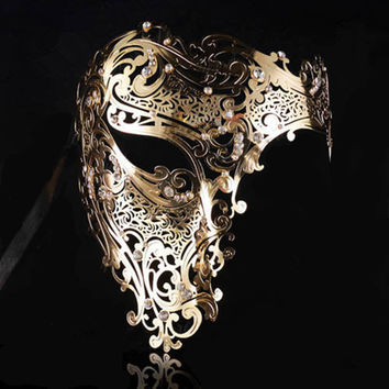 Black Gold skull Metal Mask Halloween Rhinestone Half Face Venetian Masquerade Men White Women Skull Filigree Party Mask