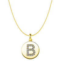 """B"" Diamond Initial 14K Yellow Gold Disk Pendant (0.18ct)"