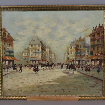 Vintage ANTONIO DEVITY French Parisian Streetscene Horse Carriage Oil Painting