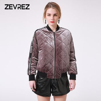 Trendy Winter Female Velvet Quilted Jacket Brand Letter Patchwork Zipper Bomber Padded Short Basic Parkas Women's Outerwear Warm Coat AT_94_13