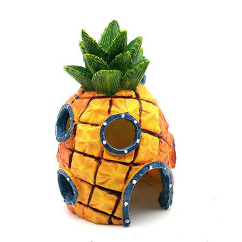 Aquarium Decoration Landscape Vivid Cute Pineapple Simulations Decoraton for Aquarium Fish Tank Yellow
