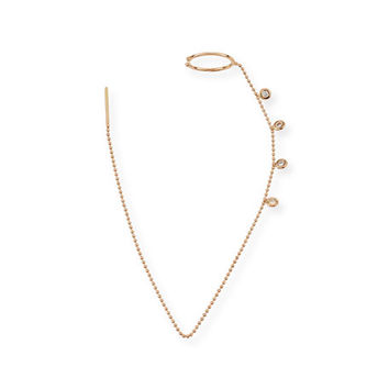 Kismet by Milka Geometry 14K Rose Gold Thread-Through Cuff Earring with Diamonds