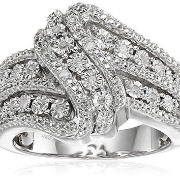 Sterling Silver Diamond 3 Row Twist Fashion Band Ring (1/10 cttw), Size 6-8