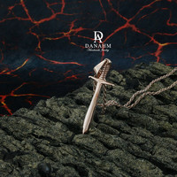 Vikings Sword Necklace, Sterling Silver, Rose Gold Plated, NE002C