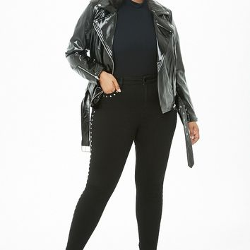 Plus Size Faux Patent Leather Moto Jacket