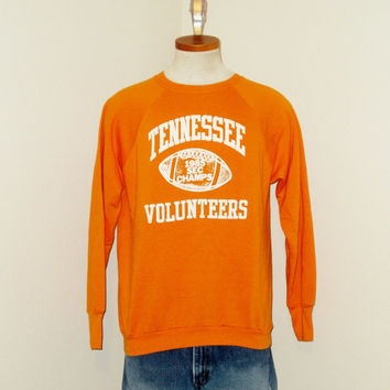 Vintage Rare 1985 TENNESSEE VOLUNTEERS SEC Champs Graphic Orange College University Men Football Medium Large 50/50 Crewneck Sweatshirt