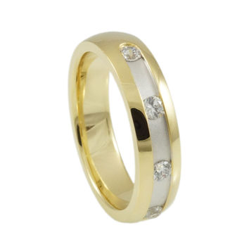 Sterling Silver  CZ & Rhodium & Yellow Gold  Plated  Band Woman