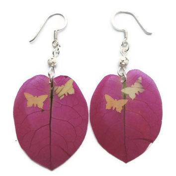 Real flower earrings, Bougainvillea jewelry, Purple dangle earrings, Butterfly jewelry, Boho jewelry, Presed petal jewelry