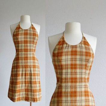 90s plaid halter dress - vintage 1990s cotton sundress - open back mini dress - orange yellow mustard - sun dress - extra small xs s