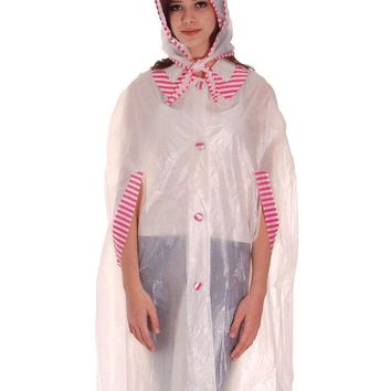 VIntage 1950s Vinyl Raincoat See-Through Sheer Pink Striped Accents w Matching Hat