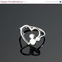 ON SALE Disney Ring - Mickey Mouse Ring - Heart Ring - Argentium Sterling Silver Ring