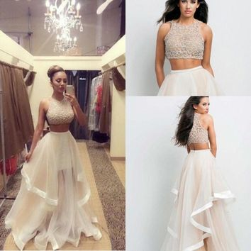 Sequins Top Two Pieces Prom Evening Party Dress Celebrity Pageant Long Maxi Gown
