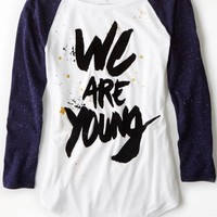 AEO 's We Are Young Graphic Baseball T-shirt (White)