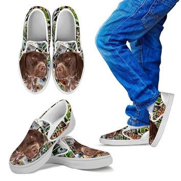 Amazing German Shorthaired Pointer Dog Print Slip Ons For Kids-Express Shipping