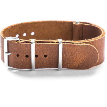 LEATHER NATO STRAP CHESTNUT BROWN