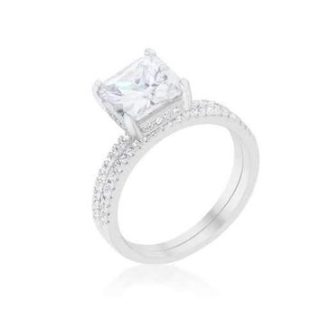 Princess Solitaire Wedding Set Ring (size: 10) R08444R-C01-10