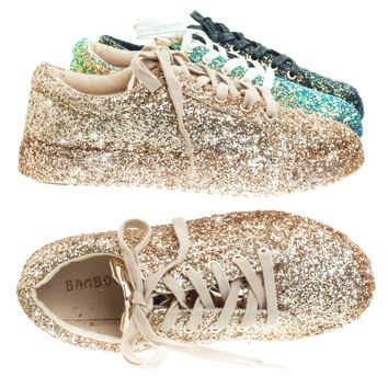 Grandslam07 Rose Gold by Bamboo, Glitter Fashion Lace Up Sneaker w Covered Platform & Metallic Upper