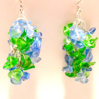 Blue and Green Cluster Earrings , Glass Bead Earrings , Dangle Earrings , Fashion Jewelry , Gifts under 20 , Jewelry for Teens