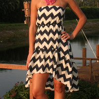 Navy & White Chevron Short Dress