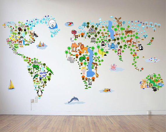 SALE Cultural World Map Wall Decal From WallsLifeDecals On - World map wallpaper decal