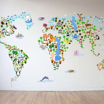 SALE Cultural World Map Wall Decal - Reusable Vinyl Fabric - Repositionable Decal - Nursery Room Decals - Clear Decals - Educational Decals