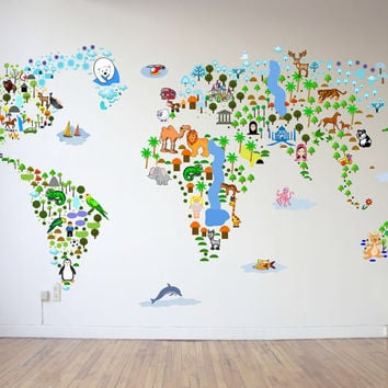Sale cultural world map wall decal reusable vinyl fabric repositionable decal nursery room