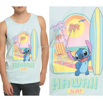 Licensed cool Disney Lilo & Stitch Hawaii Island Surf Pastel Color Tank Top Shirt Mens M NEW