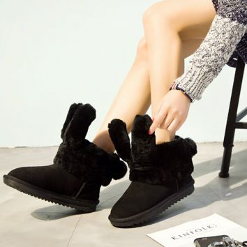 Rabbit ears snow boots rabbit short tube thick new short boots women's cotton shoes Black